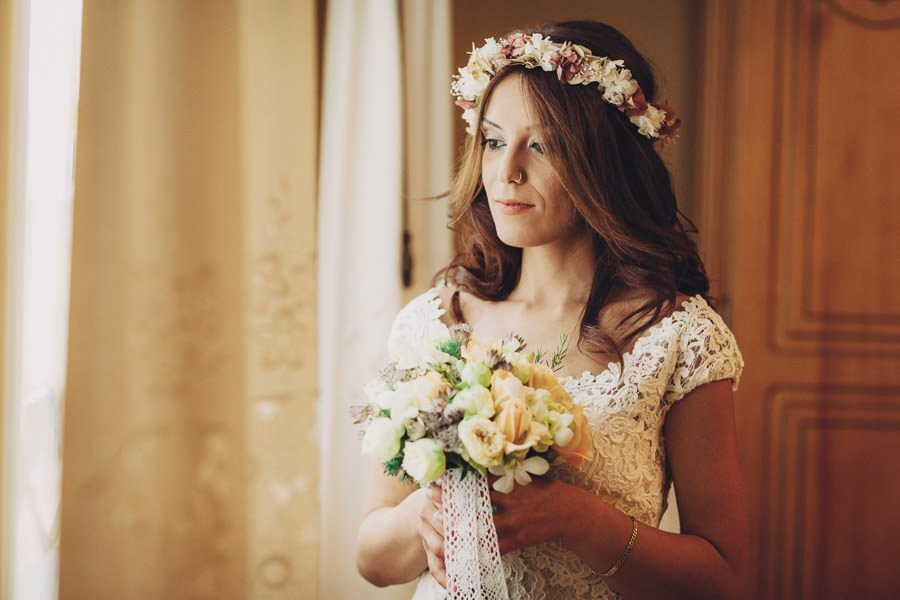 Pedro Talens fotógrafo de bodas. Peinados de novia con flores.